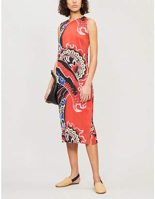Pleats Please Issey Miyake Flame-print pleated midi dress