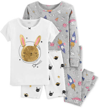 Carter's Baby Girl 4-Pc. Space Bunny Snug-Fit Cotton Pajama Set