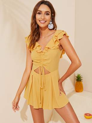 Shein Layered Ruffle Trim Drawstring Ruched Front Backless Romper