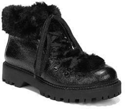 Sam Edelman Kilbourn Faux Fur-Trimmed Lace-Up Booties