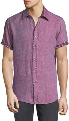 Robert Graham Men's Gills Classic Fit Graphic-Trim Short-Sleeve Sport Shirt