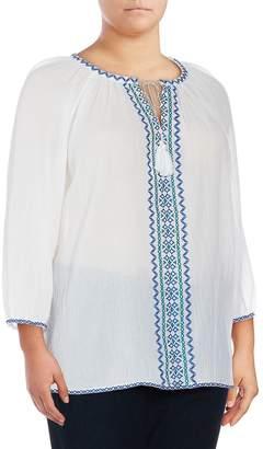 NYDJ NYDJ, Plus Size Women's Embroidered Cotton Blouse - White, Size 2x (18-20)