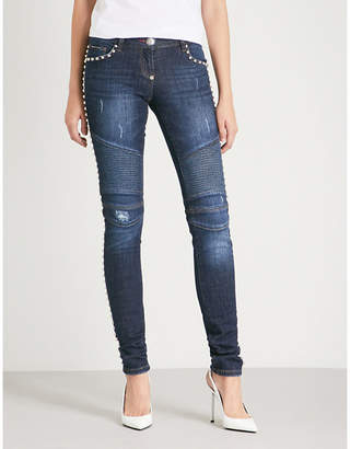 Philipp Plein This is the Day studded slim-fit mid-rise jeans