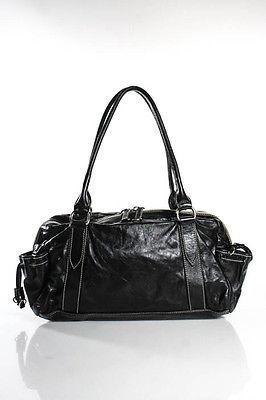 Miu MiuMiu Miu Black Leather White Trim Medium Shoulder Handbag
