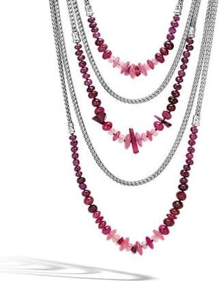 John Hardy Classic Chain Silver Mixed-Stone Multi-Strand Necklace