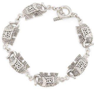 Made In Bali Sterling Silver Filigree Elephants Bracelet