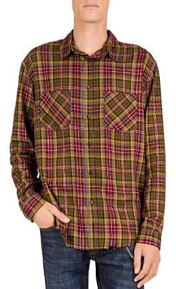 The Kooples Checked & Distressed Regular Fit Button-Down Shirt