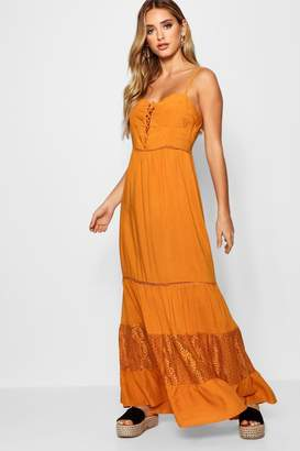 boohoo Bustier Lace Up Maxi Dress