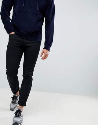 Emporio Armani J06 slim fit stretch gabardine 5 pocket jean in black