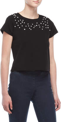 Almost Famous Faux Pearl Cropped Tee