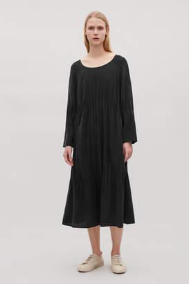Cos GATHERED SILK DRESS