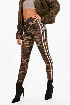 boohoo Camo Stripe Skinny Tube Jeans