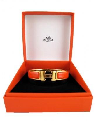 Hermes very good (VG Orange Enamel Gold H Clic Clac PM Bangle Bracelet