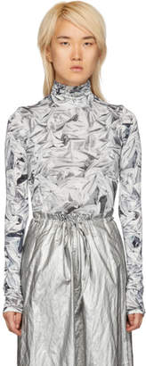 Maison Margiela White and Grey Printed Turtleneck