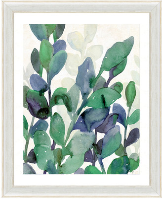 Vintage Print Gallery Luscious Watercolor Greenery I Framed Graphic Art