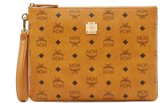 MCM Zip Pouch With Wristlet In Visetos Original