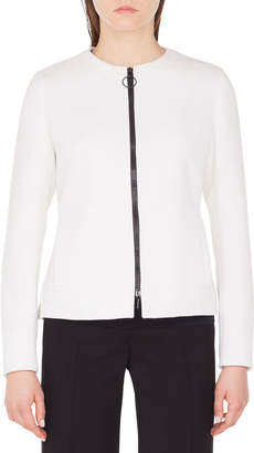 Akris Punto Crewneck Zip-Front Wool Peplum-Back Jacket