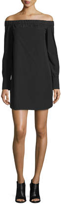 Rag & Bone Kacy Off-the-Shoulder Poplin Mini Dress, Black