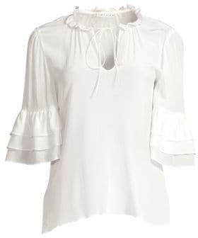 Alice + Olivia Women's Julius Silk Ruffled Elbow-Sleeve Tie Blouse - Off White - Size XS