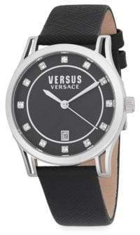 Versace Shepherds Stainless Steel Leather Strap Watch