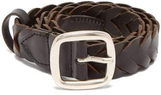 Etro Braided Leather Belt - Womens - Black