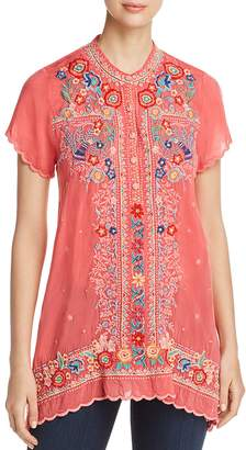 Johnny Was Mikones Embroidered Tunic Top