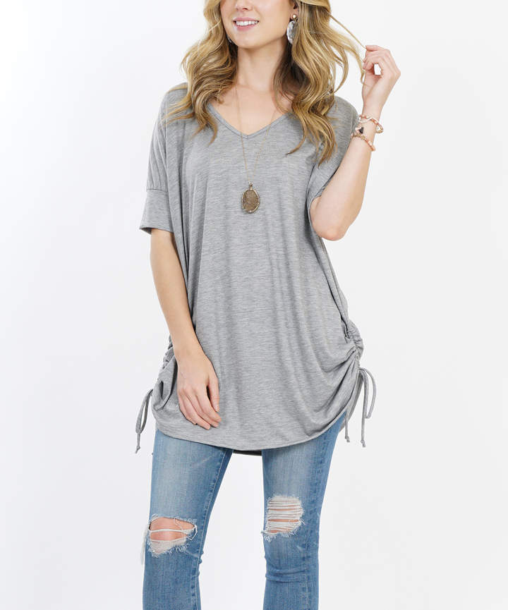Heather Gray Side-Ruched Drawstring Tunic - Women