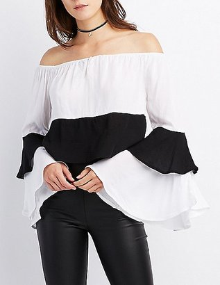 Colorblock Off-The-Shoulder Ruffle Sleeve Top $19.99 thestylecure.com