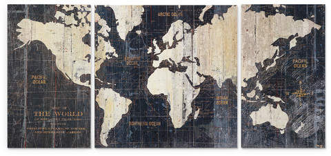 Mercury Row 'Old World Map Blue' 3 Piece Graphic Art Print Set on Wrapped Canvas