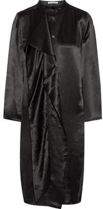 Acne Studios Doree Draped Satin Dress - Black