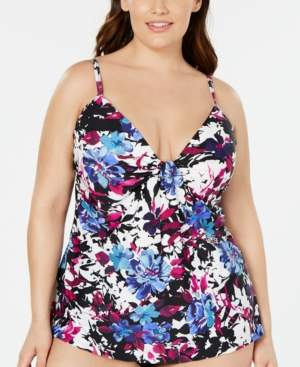Island Escape Swimwear Plus Size Swim Society Floral Printed Scorpio Tankini Top, Created for Macy's Women's Swimsuit