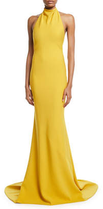 Oscar de la Renta Sleeveless Halter-Neck Ruffled-Back Gown