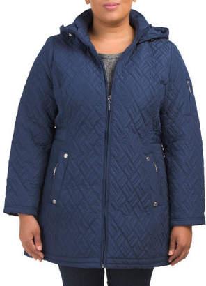 Plus Hooded Herringbone Walker Jacket