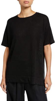Donna Karan Linen Half-Sleeve Pullover