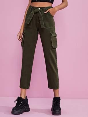 Shein Pocket Side Belted Cargo Jeans
