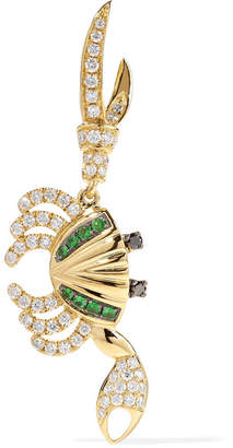 Leon Yvonne 18-karat Gold, Diamond And Tsavorite Earring