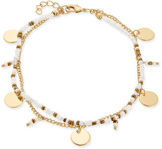 INC International Concepts I.n.c. Gold-Tone Disk & White Bead Double-Row Anklet, Created for Macy's