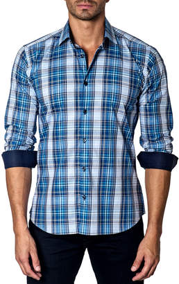 Jared Lang Men's Semi-Fitted Plaid Sport Shirt w/ Contrast Cuffs