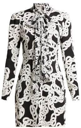 Diane von Furstenberg Franca Crawling Chain Print Crepe Dress - Womens - Black White