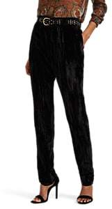 Saint Laurent Women's Textured Velvet Trousers - Black