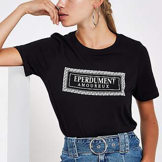 River Island Black 'Eperdument' foil print T-shirt