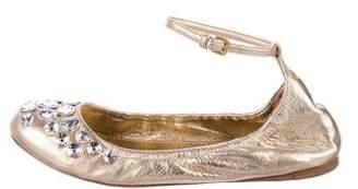 Miu Miu Embellished Ankle Strap Flats