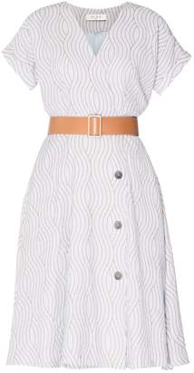 Paisie Wave Print Wrap Dress With Front Buttons (With Wide Belt) In Light Blue & Gold