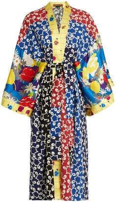 DURO OLOWU Nina contrast-panel silk and crepe kimono dress