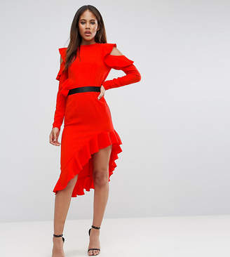 Asos Tall TALL Cold Shoulder Crepe Asymmetric Dress