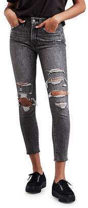 Levi's 721 Skinny Ripped Fringe Ankle Jeans