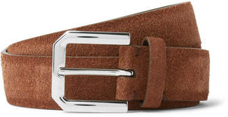 Brunello Cucinelli 3cm Brown Suede Belt - Men - Tan