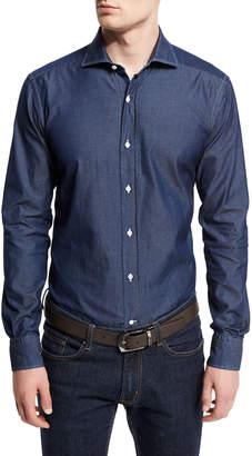 Goodmans Goodman's Washed Denim Button-Down Shirt, Slate