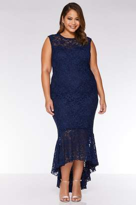 c8549177 Quiz Curve Navy Lace Glitter Dip Hem Maxi Dress