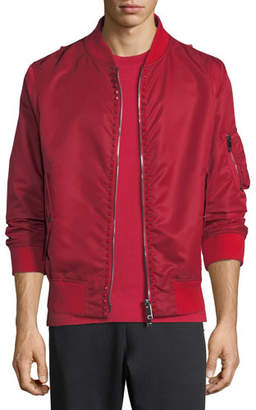 Valentino Studded Cotton-Blend Bomber Jacket